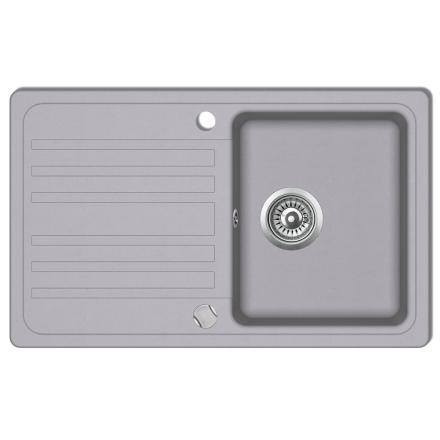 vidaXL Enkelt køkkenvask i granit med bakke, vendbar, grå