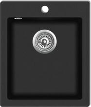 vidaXL Övermonterad diskho granit svart