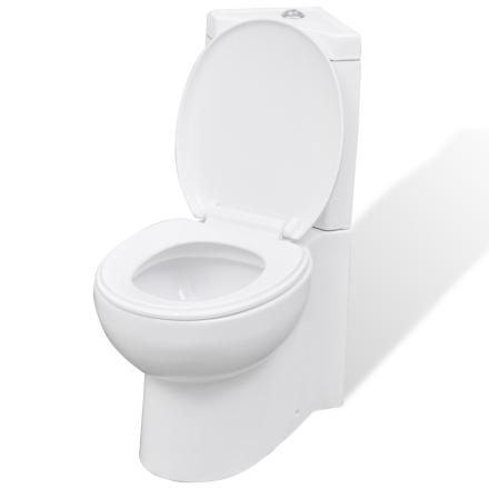vidaXL Hjørne toalett, keramisk, hvit