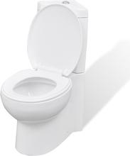 vidaXL Keramisk toalettstol i hörnmodell vit