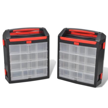 vidaXL Værktøjskasse 2 stk. opbevaringskasser til værktøj
