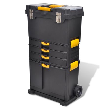 vidaXL Værktøjsvogn i sort og gul plast
