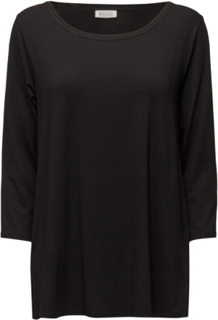 Cilla Top Ashape3/4slv Basic Langærmet T-shirt Sort Masai