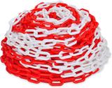 30 m Varningskedja i plast röd och vit