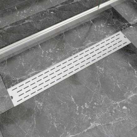 vidaXL Lineært bruseafløb linjedesign 830x140 mm rustfrit stål