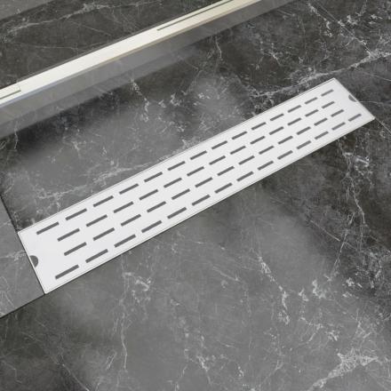 vidaXL Lineært bruseafløb linjedesign 630x140 mm rustfrit stål