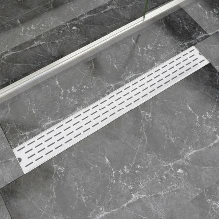 vidaXL Lineært bruseafløb linjedesign 930x140 mm rustfrit stål