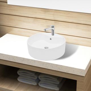 vidaXL Håndvask i keramik t/badeværelse, hul til vandhane/overløb, hvid, rund