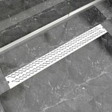 vidaXL Lineært bruseafløb bølgedesign 1030x140 mm rustfrit stål