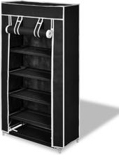 vidaXL Skoförvaring med överdrag i tyg 58 x 28 x 106 cm svart