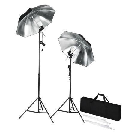 vidaXL Bærbart blitzsæt med stativer og paraplyer