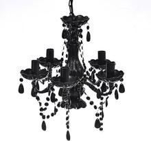 vidaXL Takkrona med kristaller 5 glödlampor svart