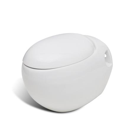 vidaXL Veggmontert toalett hvit unikt egg design