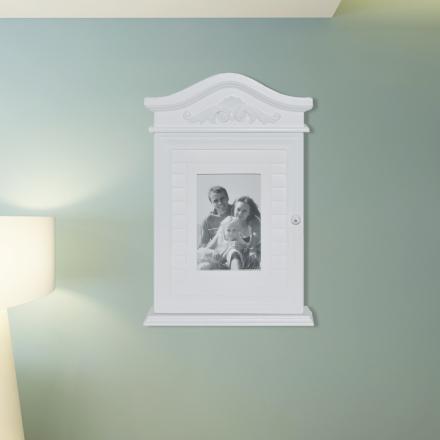 vidaXL Hvitt Nøkkelskap med Fotoramme