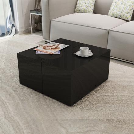 vidaXL Soffbord i svart högglans utdragbar