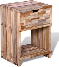 vidaXL Sängbord med låda massiv återvunnen teak