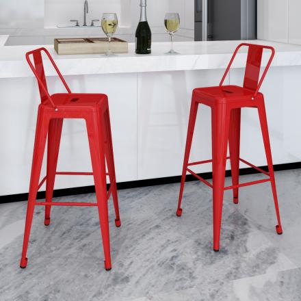 vidaXL Barstolar 2 st röd stål