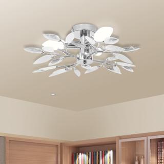vidaXL loftslampe akrylkrystal 3 E14-pærer hvid og transparent