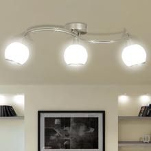 vidaXL Taklampa med glasskärmar med böjd skena för 3 E14 glödlampor
