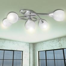 vidaXL Taklampa med ovala glaskupor för 5 E14-lampor