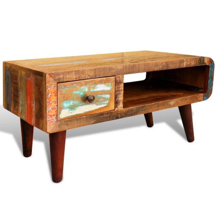 vidaXL Gjenvunnet Treverk Kaffebord med Buet Kanter i en Antikk Stil
