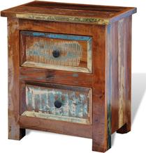 vidaXL Sängbord med 2 lådor massivt återvunnet trä
