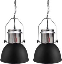 vidaXL Taklampa i metall 2 st höjdjusterbar modern svart
