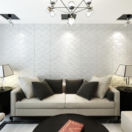 vidaXL Vægpanel i 3D, buedesign, 0,5x0,5 m, 24 paneler, 6 m²