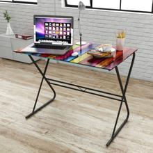 vidaXL Glass skrivebord med regnbue design