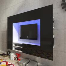 vidaXL Musta Korkeakiilto Viihdekeskus LED TV Seinäyksikkö 169,2 cm