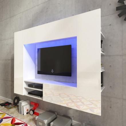 vidaXL Valkoinen Korkeakiilto Viihdekeskus LED TV Seinäyksikkö 169,2 cm