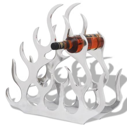vidaXL Vinställ för 11 flaskor aluminium silver