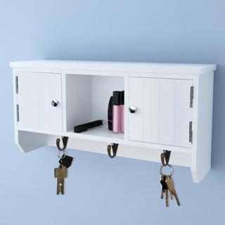 vidaXL Veggskap med dører og kroker for nøkler og smykker