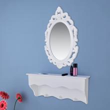 vidaXL Vägghylla för nycklar och smycken med spegel och krokar