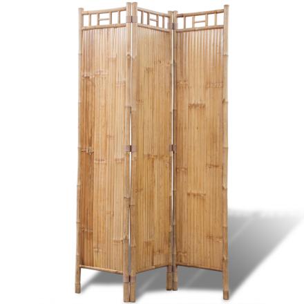 vidaXL 3-Panel Bambus Skillevegg