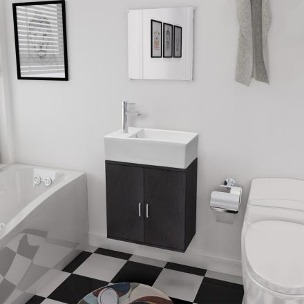 vidaXL badeværelsesmøbelsæt 3 dele sort