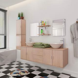 vidaXL sæt med badeværelsesmøbler og håndvask 9 dele beige