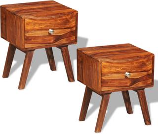 vidaXL Sängbord 2 st med 1 låda 55 cm massivt sheshamträ