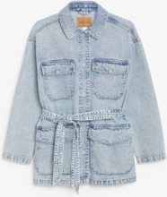 Belted denim jacket - Blue