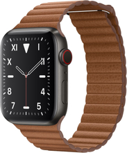 Watch Series 5 Cellular 44mm Rustfrit Stål Black Leather Band Saddelbrun