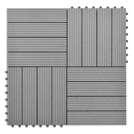 vidaXL WPC fliser 30x30cm 11 stk 1m2 grå