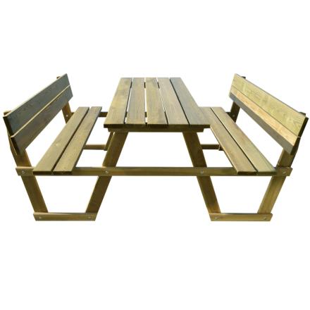 vidaXL Piknikbord med ryggstøtte impregnert Furu