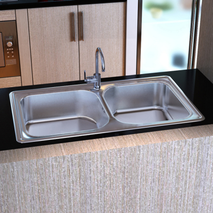 vidaXL Sink rektangulære rustfrit stål dobbelt