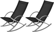 vidaXL Gungstolar för trädgården 2 st stål och textilene svart