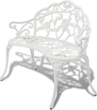 vidaXL Trädgårdsbänk 100 cm gjuten aluminium vit