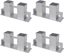 vidaXL Vedstaplingsstöd 4 st stål silver