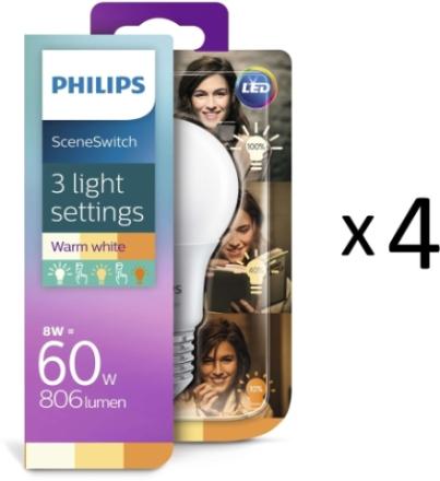 Philips LED SceneSwitch E27 60W 4st