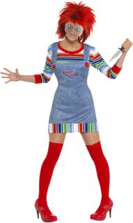 Lisensiert Chucky Damekostyme med Maske og Parykk