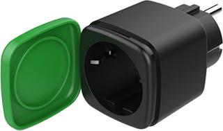 DELTACO SMART HOME strömbrytare, WiFi, IP44, 1xCEE 7/3, 13A, svart/grö