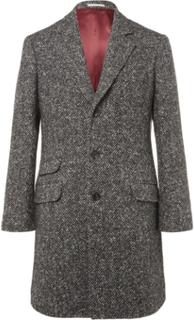 Herringbone Virgin Wool And Cashmere-blend Coat - Gray